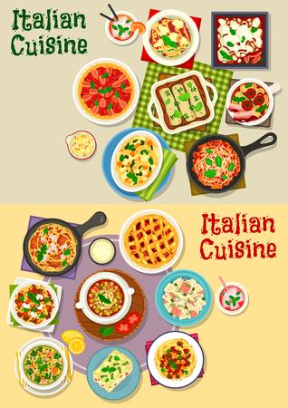 Italiaanse keuken pasta gerechten pictogramserie. Pasta met vlees, groentesaus, vis en spinazie, gehaktbalspaghetti, lasagne met kaas en bacon, tomaat en linzensoep, aardbei en pruimvruchtentaart