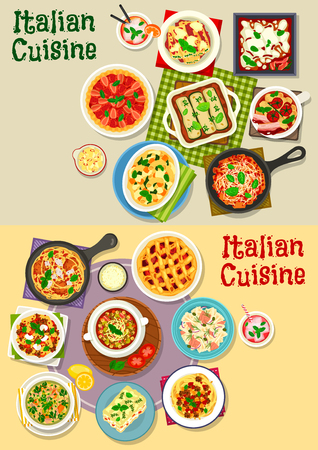 Italian cuisine pasta dishes icon set. Pasta with meat, vegetable sauce, fish and spinach, meatball spaghetti, lasagna with cheese and bacon, tomato and lentil soup, strawberry and plum fruit pie Çizim