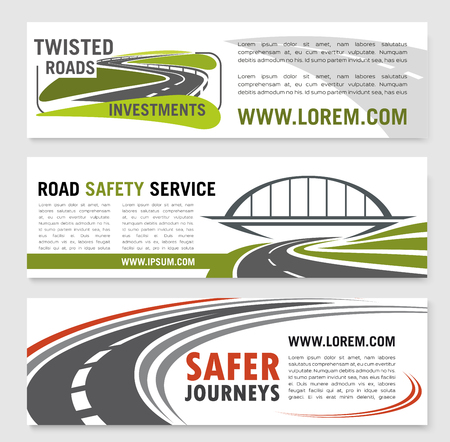 Road safety service banners for construction or development investment company. Design of highway routes and bridges or motorway tunnels elements and symbols of road journey