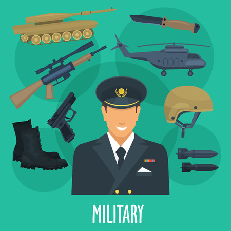 Military man occupation vector poster with weapon guns, ammunition clothes and transport machines or wartime helicopter aircraft. Special forces squad arms of army soldier in armored camouflage