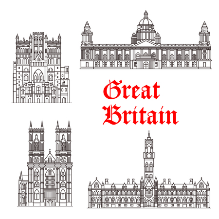 Great Britain architecture and British famous landmark buildings. Vector isolated icons and facades of Westminster Abbey, Ourham Cathedral, City Hall Bradford and Belfast 版權商用圖片 - 79001589