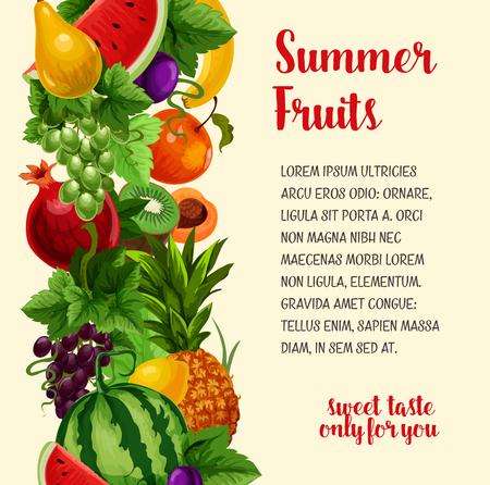 Fruit vector poster. Boerderij verse abrikoos of appel en watermeloen, zoete perzik en tropische ananas, sappige granaatappel en oogst van pruimen en druiven met meloen en en exotische kiwi Stock Illustratie