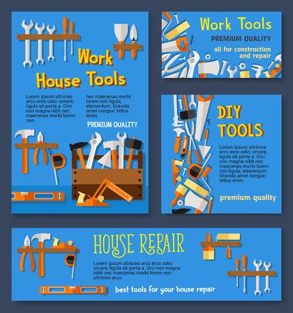 Huisreparatiewerktools en doe-het-zelf toolbox vectorsjablonen van thuisfix-instrumenten voor timmerwerk en bouwen. Boor en hamer of liniaal, schroevendraaier en moersleutel of pleistertroffel, zaag en kwast