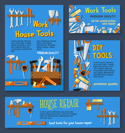 House repair work tools and do it yourself toolbox vector templates of home fix instruments for carpentry and building. Drill and hammer or ruler, scredriver and spanner or plaster trowel, saw and paint brush