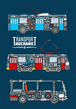 Transport mechanics vector poster of passenger and urban vehicles with detailed mechanisms and parts of bus engine or gear, tram wheels and gauges with screws and valves, trolley electric controllers or indicators