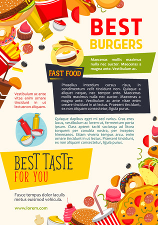 Fast food restaurant and burgers vector poster. Design of fastfood burgers and chicken grill meals, popcorn and french fries snacks, hot dog sandwiches and ice cream or donut desserts with ketchup or mustard