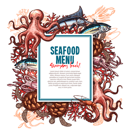 Seafood menu template for fish food restaurant. Vector design of sea food fishing catch with salmon and squid or octopus, herring or trout and shrimp, lobster, tuna or pike and crab, marlin and prawn Ilustração
