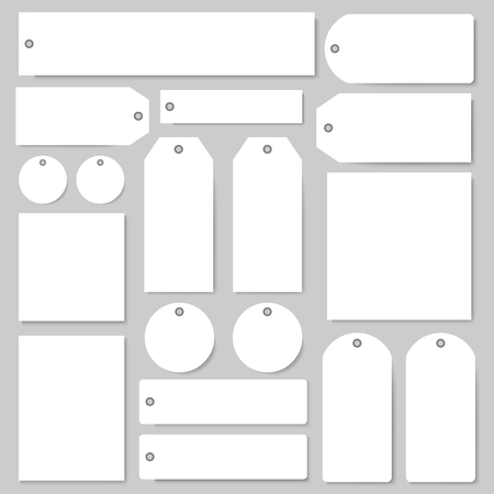 Tags and labels blank vector templates set. Isolated paper price tags with empty copy spaces for shop or product sale discount shopping elements in round circle and square shape with holes