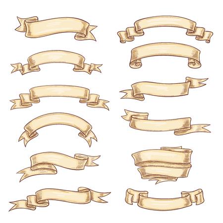 빈티지 리본입니다. 벡터 오래 된 레트로 종이 스크롤 또는 원고 배너 위트 빈 복사본 공간. 문장도 디자인에 대 한 고대의 전 령 플래그 또는 vntage 문 일러스트