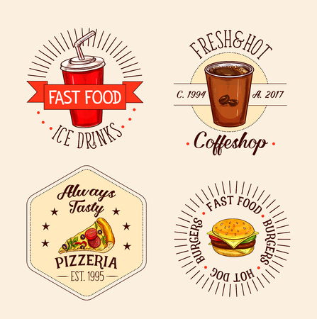 Fast food icons set of soda drink and coffee cup for coffeeshop, cheeseburger or hamburger sandwich and pizza slice for pizzeria bar. Vector isolated symbols for fastfood restaurant or menu