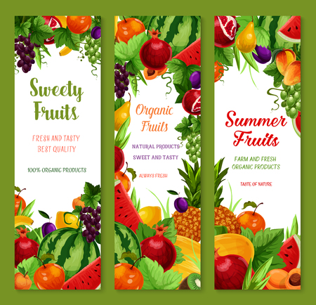 Fruits vector banners set of farm fresh watermelon, sweet peach or apple and apricot, tropical pineapple and banana, juicy pomegranate and summer garden plum with grapes and melon or orange Ilustracja