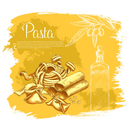 Pasta poster for Italian cuisine or restaurant. Vector spaghetti variety of ravioli and farfalle or kanelone, funghetto and pappardelle or and tagliatelle, lasagna and bucatini or konkiloni Illustration