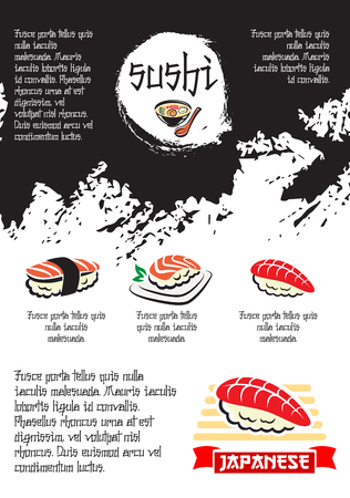 Sushi bar poster of sashimi with salmon fish and tempura shrimp or prawn, rolls with tuna and squid on steamed rice with nori seaweed and soy sauce for Japanese seafood restaurant menu
