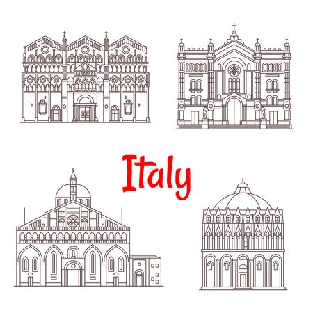 Italy landmark buildings and Italian famous architecture facades. Vector isolated icons of Baptistery Pisa, Saint Anthony Padua Basilica, Ferrara Cathedral, Maria Santissima Assunta in Cileo Reggio di Calabria
