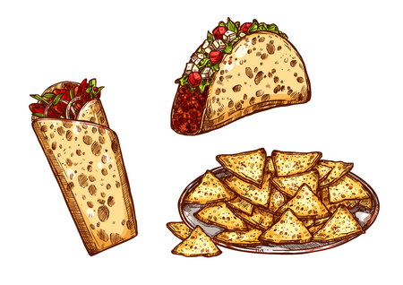 Fast food tacos, burrito and nachos chips. Vector sketch isolated icons for Mexican or Spanish cuisine fastfood. Spicy appetizers with meat and vegetables for delivery of takeaway menu design