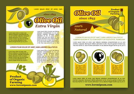 オリーブ オイル製品のポスターやパンフレット。緑と黒のオリーブとオリーブ オイル ボトルの有機農法自然料理とヘルシー クッキングからの jar