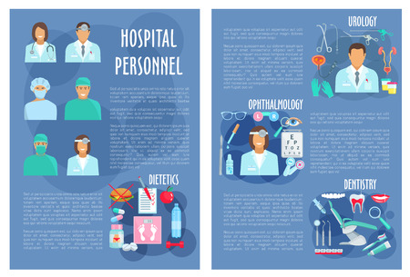 Hospital doctors poster or brochure for medical personnel of urology, dietetics healthcare, dentistry and ophthalmology. Vector physician staff and medicines for eyes, tooth implant, syringe and diabetic pills