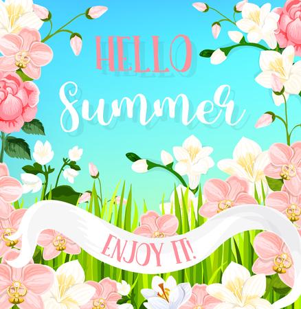 Bonjour carte de voeux d'été de s'épanouir des bouquets de fleurs d'orchidées en fleurs et de fleurs de magnolia en ruban rose. Papillon d'été vecteur sur les roses, les marguerites ou les pétales de lys pour les vacances d'été Banque d'images - 79001672