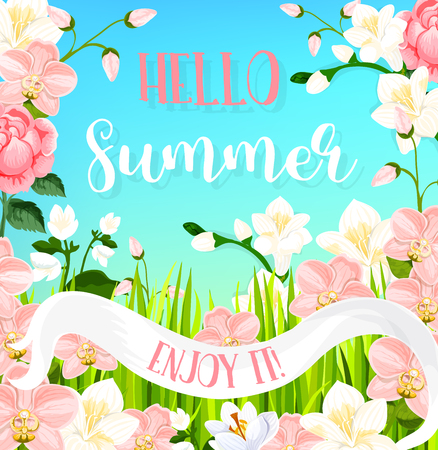 Hello Summer greeting card of flourish bouquets of blooming orchid flowers and magnolia blossoms in pink ribbon. Vector summertime butterfly on roses, daisy or lily petals for summer holidays Çizim