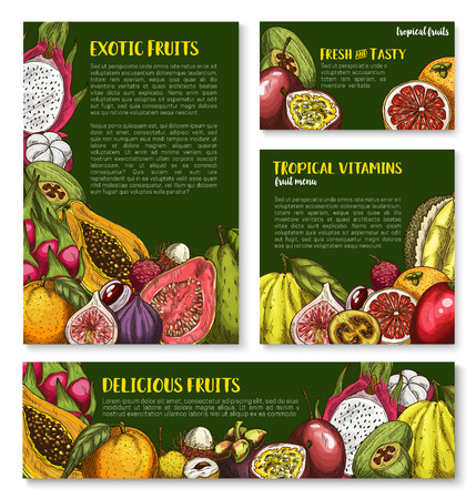 Vector templates of exotic fresh tropical fruits Illustration