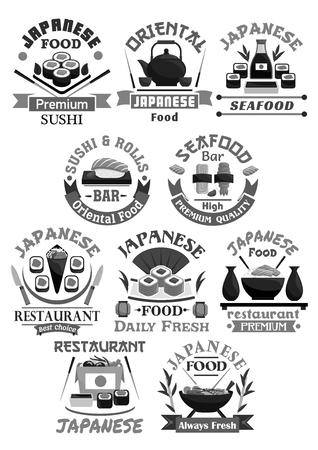 Vector icons for Japanese sushi food restaurant Illustration