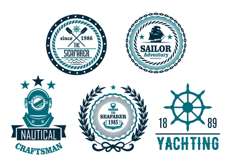 Vector set of nautical anchor or marine helm icons Illustration