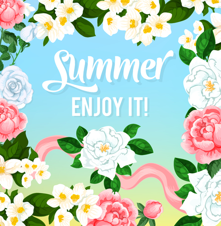 Summer time flowers vector greeting card Illustration