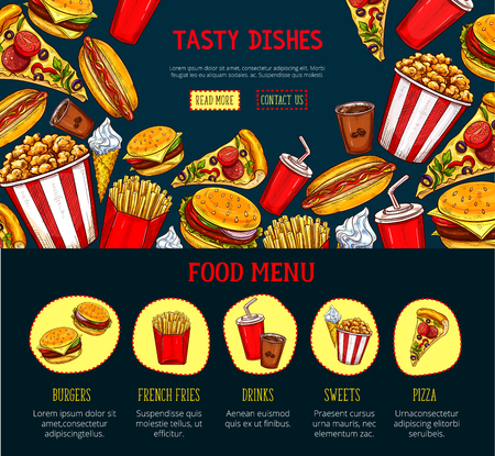 page site: Vector landing page for fast food restaurant site