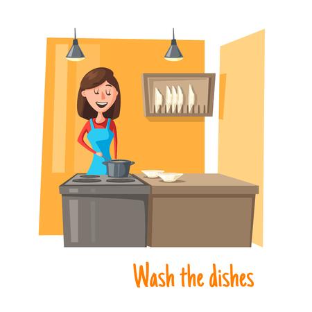 キッチン洗濯料理ベクター女性の主婦