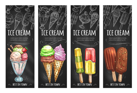 Vector banners set for ice cream fresh desserts