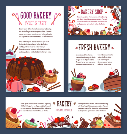 Vector templates for bakery shop cakes dessers