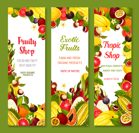 Vector banners with exotic fresh tropical fruits Illustration