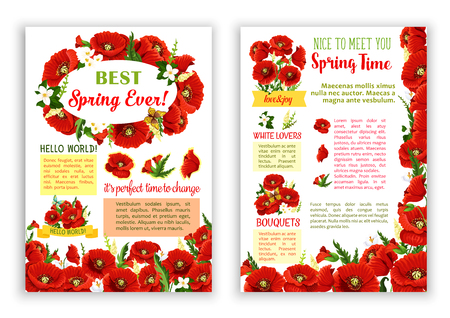 Vector spring poster of red poppy flowers bouquets