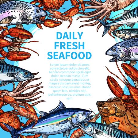 Vector menu for seafood or fish food market