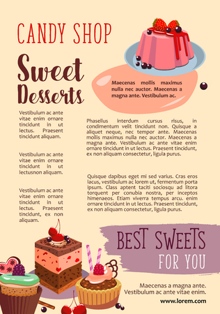 Vector poster for candy shop pastry desserts