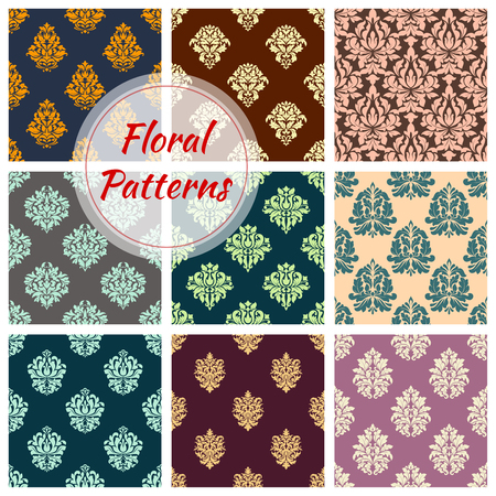 Seamless floral patterns of vector flower ornament Ilustração