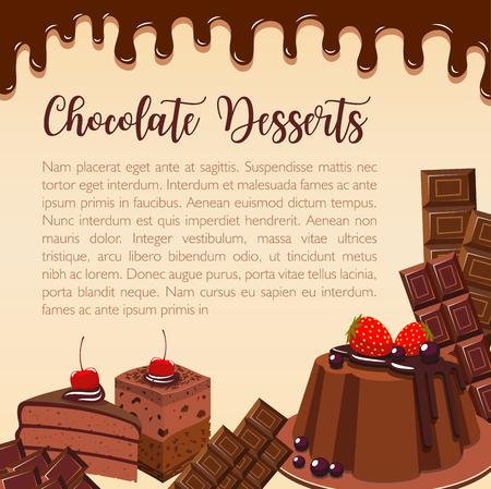 Vectoraffiche van chocoladedesserts en cakes