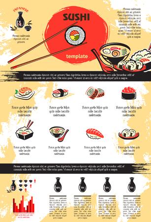 寿司魚介類のベクター インフォ グラフィック  イラスト・ベクター素材