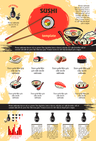 Vector infographics for Japanese sushi seafood Çizim