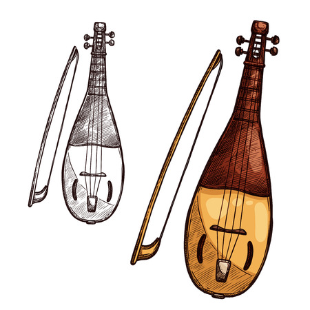 Vector sketch gusli harp string music instrument Çizim