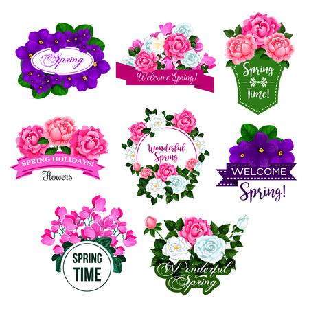 Spring season floral icon set. Springtime floral frame and flower bouquet of rose, peony, crocus, violet and cyclamen with green leaf and bud, adorned by ribbon banner for spring holidays design Ilustrace