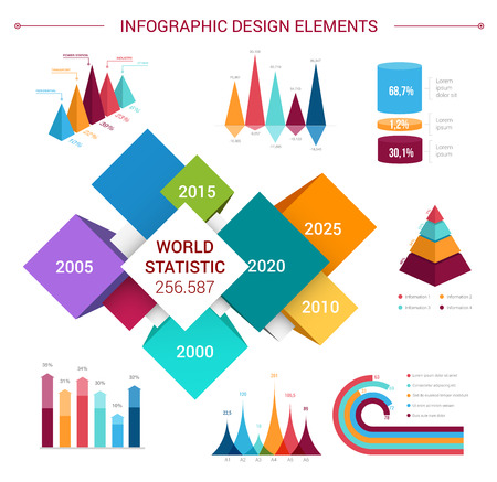 Infographics design elements and templates. Vector flat icons set for world statistics and analytics, marketing and business diagrams and growth charts, flowchart graphs and percent share bars
