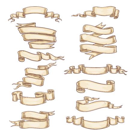 Heraldische Papierbänder oder Rollenbänder. Weinlese kräuselte sich Papierrollen oder Manuskriptfahnen und Wappenkundenflaggen und Papyrusstreifen. Leerer Kopienraum des Vektors und leere Schablonen eingestellt Vektorgrafik