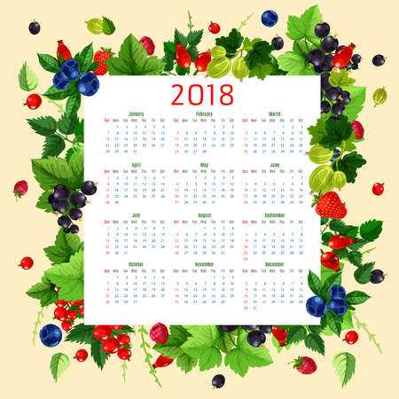 Berries calendar for 2018. Vector design template with berry frame of farm fresh raspberry and currant, cherry and strawberry or gooseberry, garden blueberry and blackberry or bilberry fruit