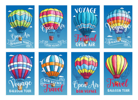Hot air balloon tour or voyage posters or travel cards set. Vector sketch design of inflated hopper balloons with pattern decor of zig zag, stripes or square checkered patch for summer vacations Stock Vector - 79001858