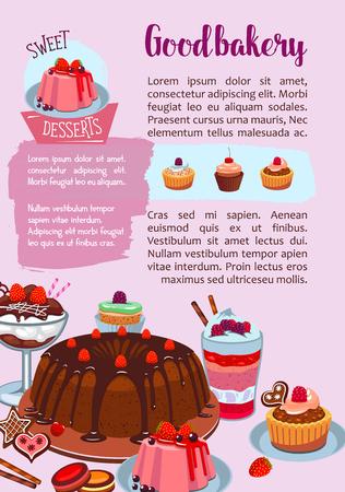 Gebak of bakkerijwinkelposter van snoepjes en desserts. Vectorontwerp van cakes, chocoladebrowniebiscuits en cupcakes, tiramisu of cheesecake tortes, vlaaien en wafeltjes of puddingen en koekjes