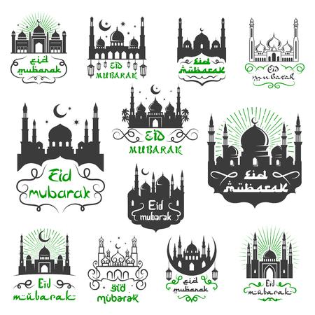 Eid Mubarak Moslim religieuze festivalgroeten met Arabische kalligrafie, moskee-minaretten en halve maan of flonkerende ster. Vector iconen voor traditionele islamitische gezegend Eid Mubarak viering