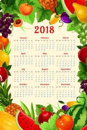 新鮮な果物カレンダー 2018 テンプレート。夏新鮮なザクロ、アプリコットやエキゾチックなパイナップル、スイカ、梨、熱帯のバナナのベクトル フ