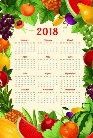 Fresh fruits calendar 2018 template. Vector frame design of summer fresh pomegranate, apricot or exotic pineapple and watermelon, pear and tropical banana. Farm harvest peach, grape and plums or melon Banco de Imagens - 79001862