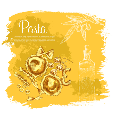 Pasta and olive oil poster. Vector design for Italian cuisine or restaurant. Design of macaroni variety spaghetti and lasagna or pappardelle, ravioli and tagliatelle, bucatini and farfalle with olives Illustration